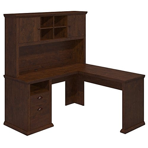 Bush Furniture Yorktown L Shaped Desk With Hutch In Antique Cherry 0
