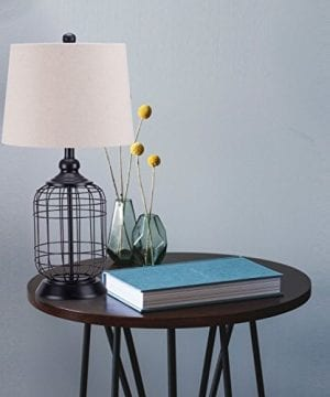 CO Z Birdcage Base Table Lamps Anti Rust Metal Base Oatmeal Linen Shade Desk Lamp 255 Inches Height For Living Room Bedroom Bedside Console Black 0 0 300x360
