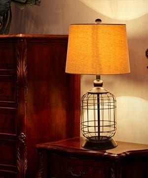 CO Z Birdcage Base Table Lamps Anti Rust Metal Base Oatmeal Linen Shade Desk Lamp 255 Inches Height For Living Room Bedroom Bedside Console Black 0 1 300x360