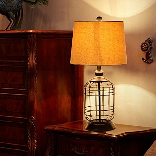 CO Z Birdcage Base Table Lamps Anti Rust Metal Base Oatmeal Linen Shade Desk Lamp 255 Inches Height For Living Room Bedroom Bedside Console Black 0 1