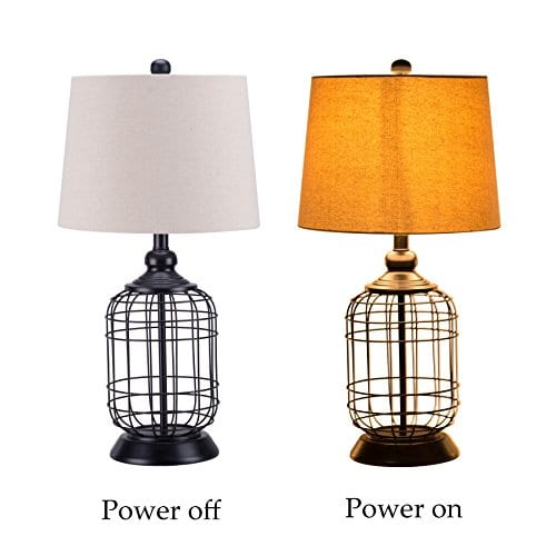 CO Z Birdcage Base Table Lamps Anti Rust Metal Base Oatmeal Linen Shade Desk Lamp 255 Inches Height For Living Room Bedroom Bedside Console Black 0 2