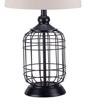 CO Z Birdcage Base Table Lamps Anti Rust Metal Base Oatmeal Linen Shade Desk Lamp 255 Inches Height For Living Room Bedroom Bedside Console Black 0 3 300x360