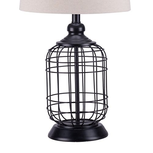 CO Z Birdcage Base Table Lamps Anti Rust Metal Base Oatmeal Linen Shade Desk Lamp 255 Inches Height For Living Room Bedroom Bedside Console Black 0 3