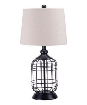 CO Z Birdcage Base Table Lamps Anti Rust Metal Base Oatmeal Linen Shade Desk Lamp 255 Inches Height For Living Room Bedroom Bedside Console Black 0 300x360