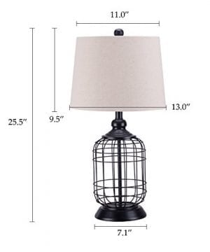 CO Z Birdcage Base Table Lamps Anti Rust Metal Base Oatmeal Linen Shade Desk Lamp 255 Inches Height For Living Room Bedroom Bedside Console Black 0 5 300x360
