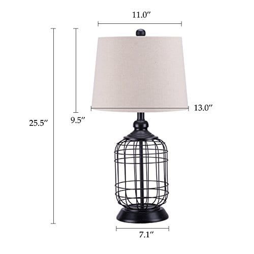 CO Z Birdcage Base Table Lamps Anti Rust Metal Base Oatmeal Linen Shade Desk Lamp 255 Inches Height For Living Room Bedroom Bedside Console Black 0 5