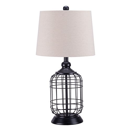 CO Z Birdcage Base Table Lamps Anti Rust Metal Base Oatmeal Linen Shade Desk Lamp 255 Inches Height For Living Room Bedroom Bedside Console Black 0