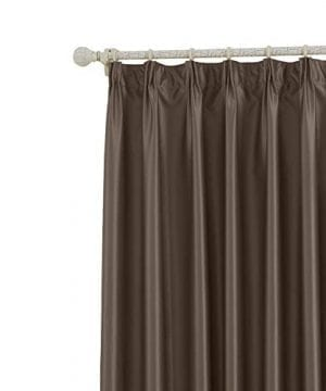 COFTY Classic Solid Thermal Insulated Blackout Curtain Panel Drapes Chocolate 150Wx102L Inch 1 Panel Pinch Pleat Top For Bedroom Living Room Club Restaurant 0 300x360
