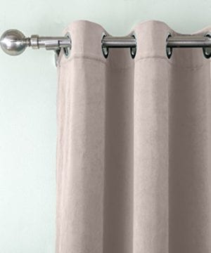 COFTY Super Soft Matt Luxury Heavyweight Velvet Curtain Drape With Blackout Thermal Lining Gray Beige 50Wx84L Inchset Of 2 Panels Nickle Grommet 0 0 300x360