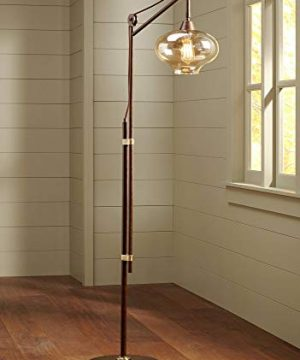 Calyx Industrial Downbridge Floor Lamp Bronze Cognac Glass Dimmable LED Edison Bulb For Living Room Reading Office Franklin Iron Works 0 300x360