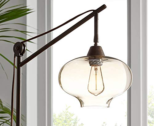 Calyx Industrial Downbridge Floor Lamp Bronze Cognac Glass Dimmable LED Edison Bulb For Living Room Reading Office Franklin Iron Works 0 4