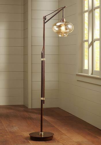 Calyx Industrial Downbridge Floor Lamp Bronze Cognac Glass Dimmable LED Edison Bulb For Living Room Reading Office Franklin Iron Works 0