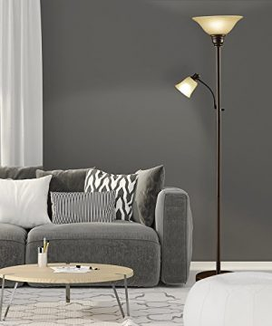 Catalina Lighting 18223-002 Traditional Metal Torchiere Living Room Floor  Lamp with Reading Light and Glass Shades, Bronze