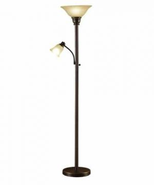 Catalina Lighting 18223 002 Traditional Metal Torchiere Living Room Floor Lamp With Reading Light And Glass Shades Bronze 0 300x360
