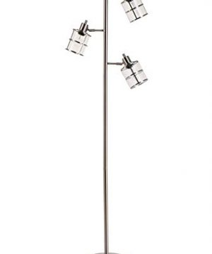Catalina Lighting 21406 000 Contemporary 3 Ribbed Glass Floor Lamp With Adjustable Heads Reading Light 68 Brushed Nickel 0 300x360
