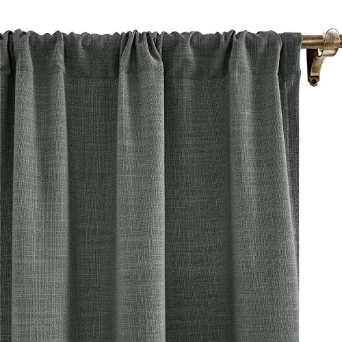 Chadmade Extra Wide Curtains 120w X 96l Inch Carbon Grey Linen