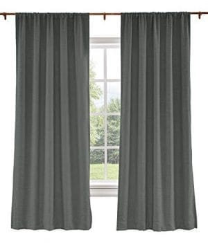 ChadMade Extra Wide Curtains 120W X 96L Inch Carbon Grey Linen Polyester Curtain Drapes With Blackout Lining Rod Pocket Curtains Patio Door Living Room Bedroom 1 Panel Liz Collection 0 300x360