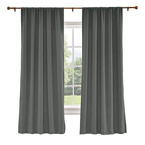 ChadMade Extra Wide Curtains 120W x 96L Inch Carbon Grey Linen Polyester  Curtain Drapes with Blackout Lining Rod Pocket Curtains Patio Door Living  ...