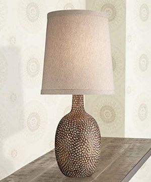 Chalane Rustic Accent Table Lamp Antique Bronze Hammered Texture Natural Beige Linen Shade For Living Room Family Bedroom 360 Lighting 0 300x360