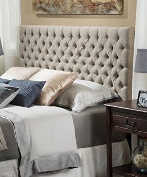 Christopher Knight Home 238888 Jezebel Tufted Fabric Headboard QueenFull Sand 0 300x360