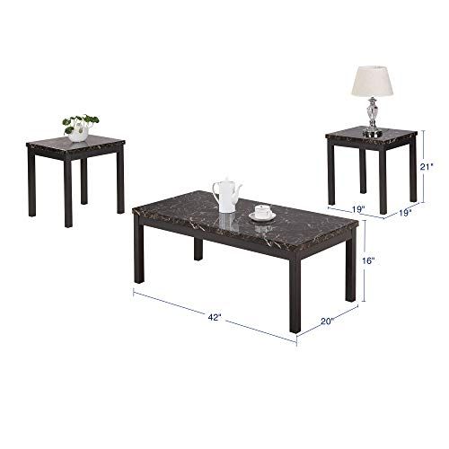 Civil Furniture 3 Piece Modern Faux Marble Coffee And End Table Set Living Room Furniture 0 0