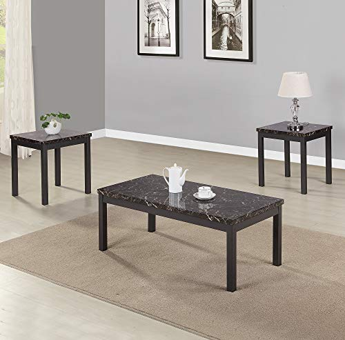 Civil Furniture 3 Piece Modern Faux Marble Coffee And End Table Set Living Room Furniture 0