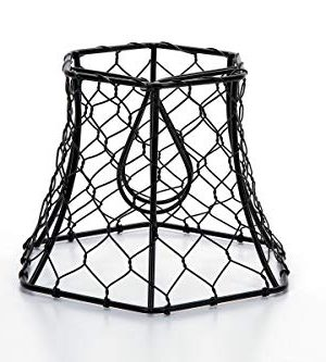 Cleveland Vintage Lighting 30398A Chicken Wire Clip On Shade Hexagonal Black 575 X 5 X 4 Inches 0 300x333