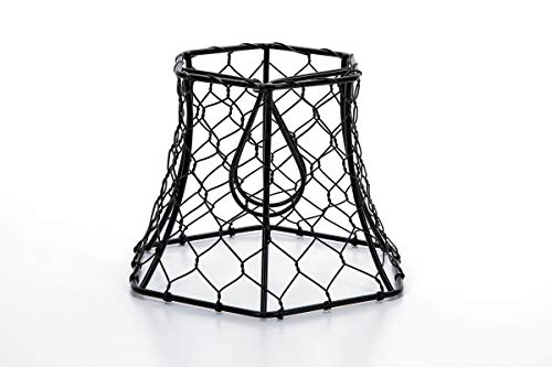 Cleveland Vintage Lighting 30398A Chicken Wire Clip On Shade Hexagonal Black 575 X 5 X 4 Inches 0