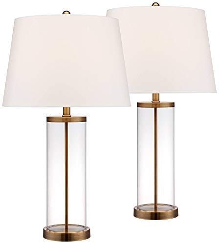 Coastal Table Lamp Glass Cylinder Gold Fillable White Drum Shade For Living Room Family Bedroom Bedside Nightstand 360 Lighting 0