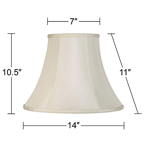 Creme Bell Lamp Shade Traditional Fabric Harp Included 7x14x11 Spider Imperial Shade 0 3