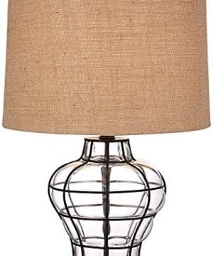 Croyton Nautical Accent Table Lamp Clear Blown Glass Metal Cage Burlap Drum Shade For Living Room Family Bedroom Bedside 360 Lighting 0 0 300x360