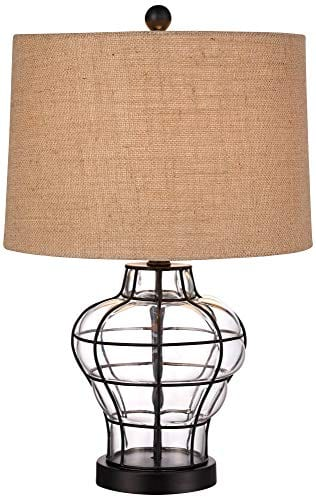 Croyton Nautical Accent Table Lamp Clear Blown Glass Metal Cage Burlap Drum Shade For Living Room Family Bedroom Bedside 360 Lighting 0 0