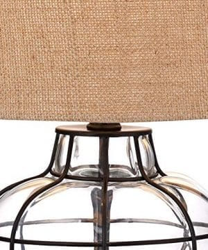 Croyton Nautical Accent Table Lamp Clear Blown Glass Metal Cage Burlap Drum Shade For Living Room Family Bedroom Bedside 360 Lighting 0 1 300x360