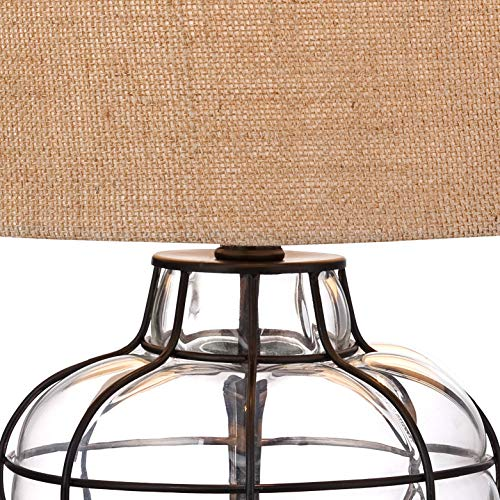 Croyton Nautical Accent Table Lamp Clear Blown Glass Metal Cage Burlap Drum Shade For Living Room Family Bedroom Bedside 360 Lighting 0 1