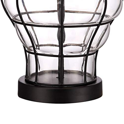 Croyton Nautical Accent Table Lamp Clear Blown Glass Metal Cage Burlap Drum Shade For Living Room Family Bedroom Bedside 360 Lighting 0 3