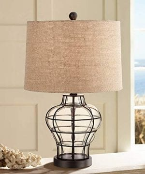 Croyton Nautical Accent Table Lamp Clear Blown Glass Metal Cage Burlap Drum Shade For Living Room Family Bedroom Bedside 360 Lighting 0 300x360