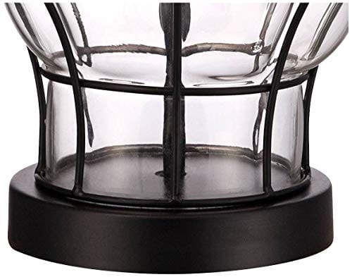 Croyton Nautical Accent Table Lamp Clear Blown Glass Metal Cage Burlap Drum Shade For Living Room Family Bedroom Bedside 360 Lighting 0 4