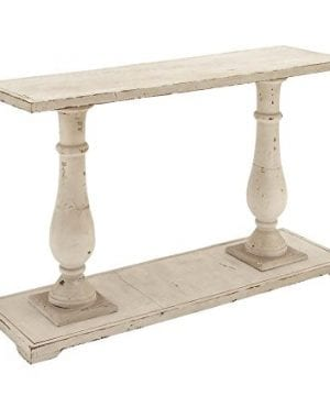 Deco 79 Rectangular Antique White Wood Console Table With Carved Base 48 X 32 0 300x360