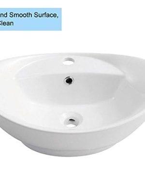 Decoraport White Oval Ceramic Bathroom Kitchen Vessel Sink Porcelain Vanity Above Counter Basin Bowl Cl 1038 0 0 300x360