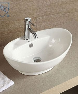 Decoraport White Oval Ceramic Bathroom Kitchen Vessel Sink Porcelain Vanity Above Counter Basin Bowl Cl 1038 0 300x360