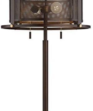 Derek Industrial Table Lamp Bronze Metal Mesh Drum Shade For Living Room Family Bedroom Bedside Nightstand Office Franklin Iron Works 0 0 300x360
