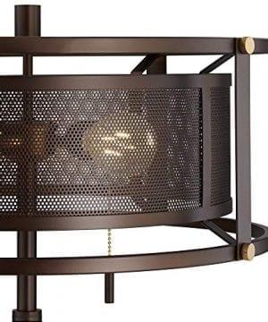 Derek Industrial Table Lamp Bronze Metal Mesh Drum Shade For Living Room Family Bedroom Bedside Nightstand Office Franklin Iron Works 0 1 300x360