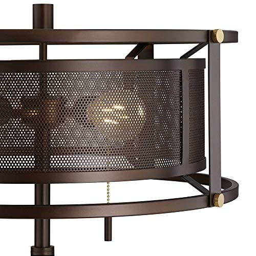 Derek Industrial Table Lamp Bronze Metal Mesh Drum Shade For Living Room Family Bedroom Bedside Nightstand Office Franklin Iron Works 0 1