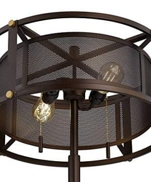 Derek Industrial Table Lamp Bronze Metal Mesh Drum Shade For Living Room Family Bedroom Bedside Nightstand Office Franklin Iron Works 0 2 300x360