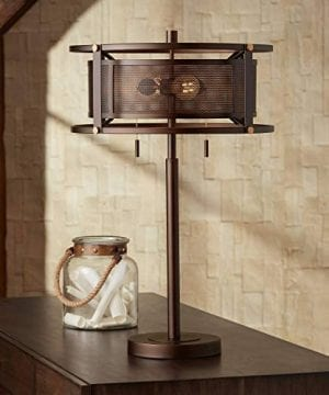 Derek Industrial Table Lamp Bronze Metal Mesh Drum Shade For Living Room Family Bedroom Bedside Nightstand Office Franklin Iron Works 0 300x360