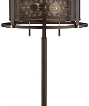Derek Industrial Table Lamp Bronze Metal Mesh Drum Shade For Living Room Family Bedroom Bedside Nightstand Office Franklin Iron Works 0 5 300x360