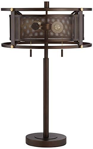 Derek Industrial Table Lamp Bronze Metal Mesh Drum Shade For Living Room Family Bedroom Bedside Nightstand Office Franklin Iron Works 0 5