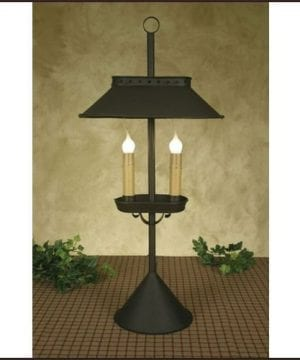 Double Candle Desk Lamp In Rustic Brown 0 300x360