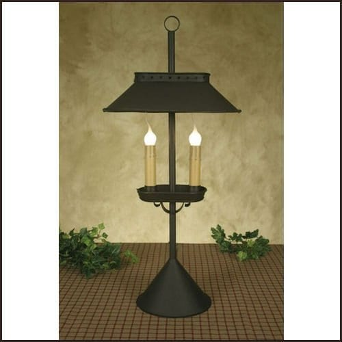 Double Candle Desk Lamp In Rustic Brown 0