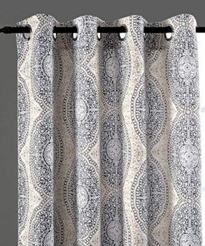 DriftAway Adrianne DamaskFloral Pattern ThermalRoom Darkening Grommet Unlined Window Curtains Set Of Two Panels Each 52x84 BeigeGray Natural Color 0 0 300x360